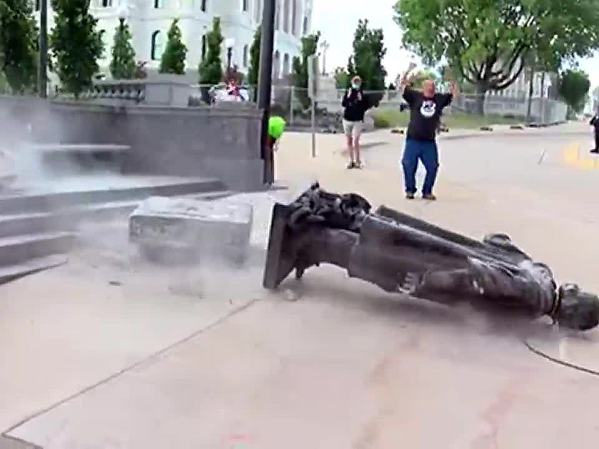 Activist charged in toppling of Minnesota Columbus statue