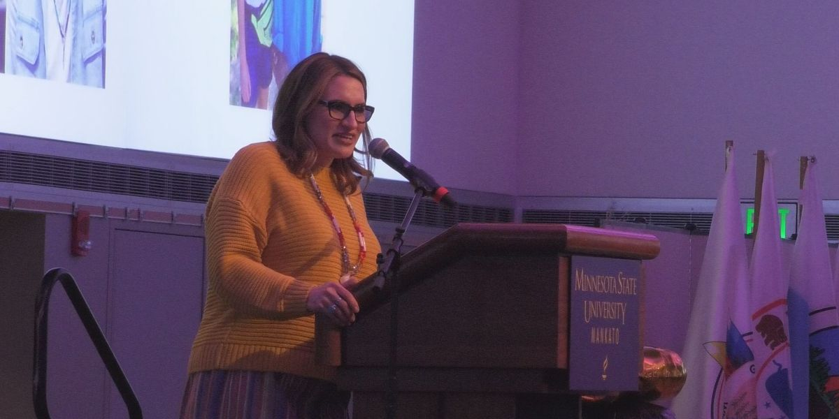 Lieutenant Governor Peggy Flanagan speaks at MSU, Mankato's American Indian Night