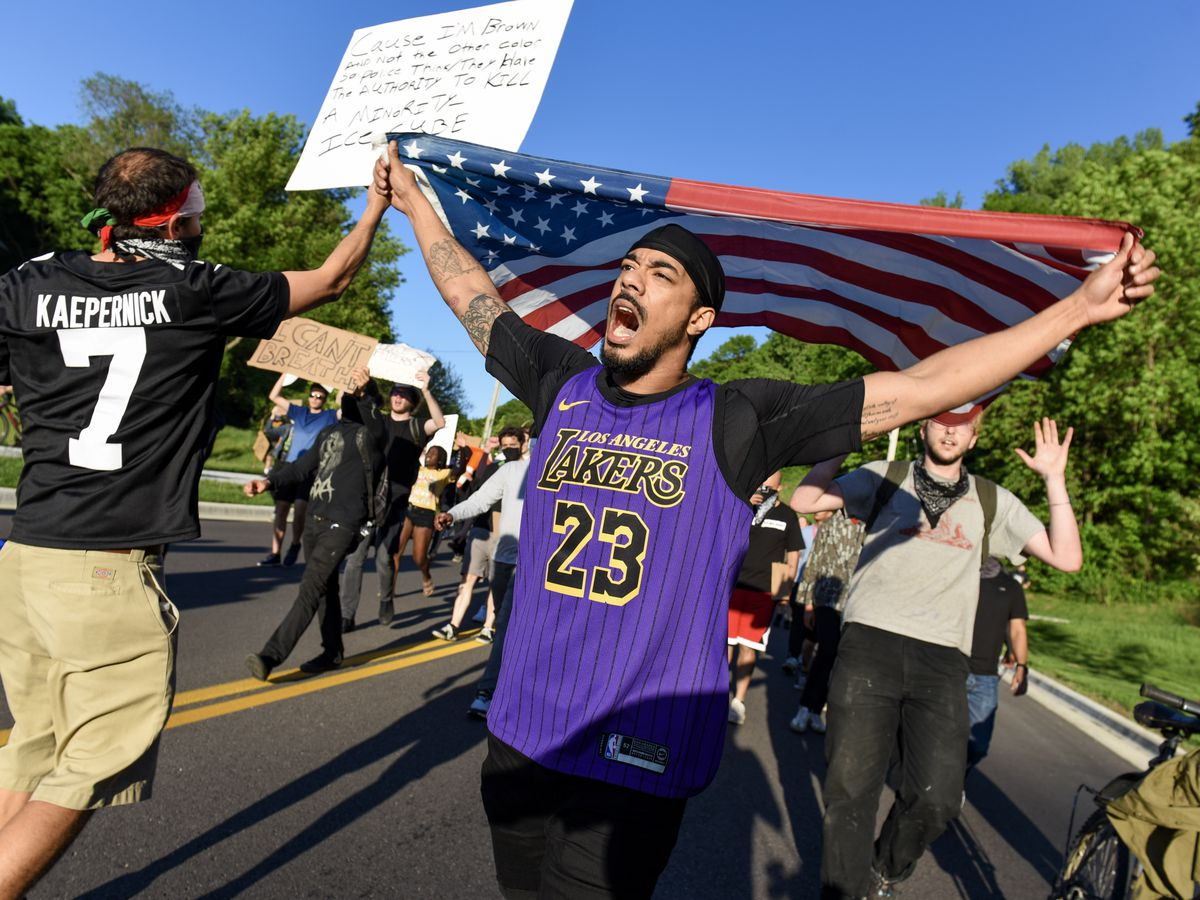 Hundreds of demonstrators march through Mankato, protest George Floyd's death