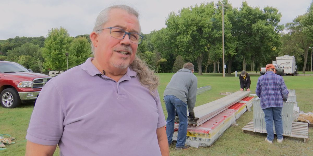 Pow Wow preparations continue with bleacher assembly at Land of Memories Park