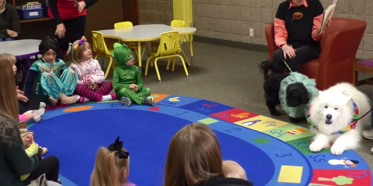 Puppies, children enjoy Halloween fun at Blue Earth County Library
