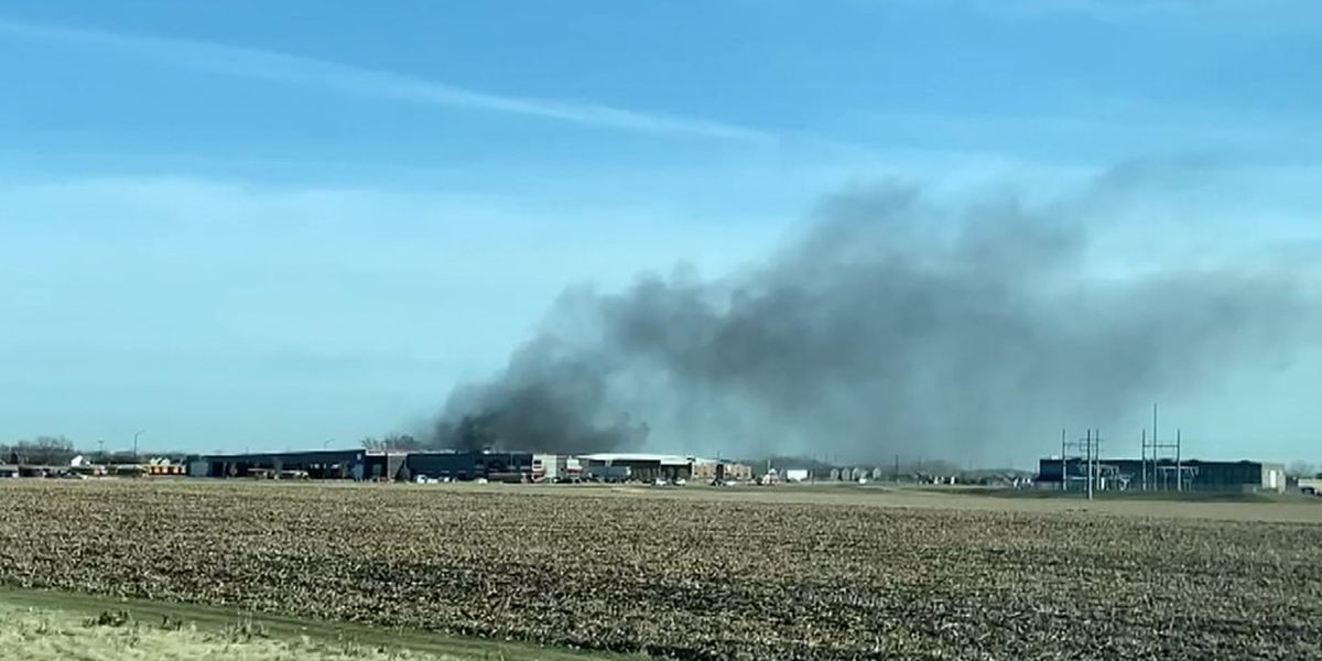 Bus garage fire sends two people to hospital