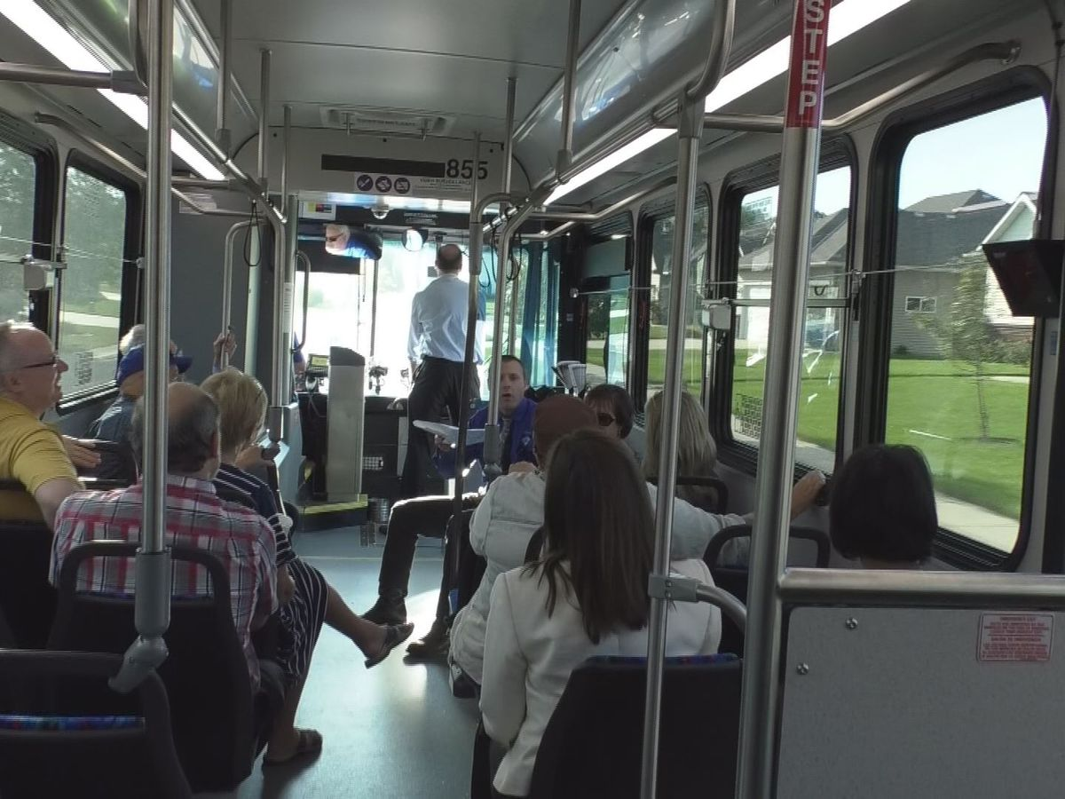 Mankato City Council members and city staff tour city projects firsthand on bus tour