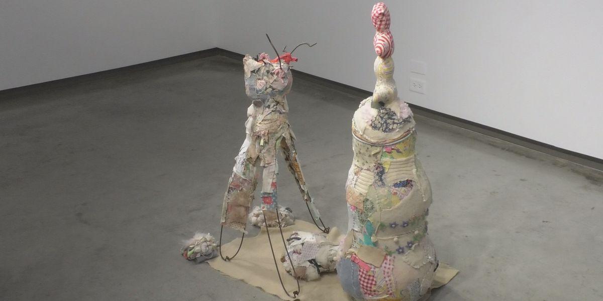 Artist displays sculptures made from repurposed material