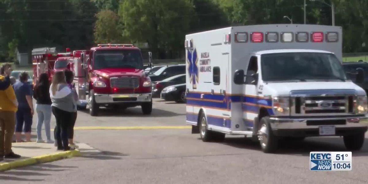 First responders escort former Madelia athlete on his way to Nebraska facility