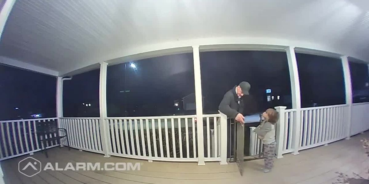 2-year-old hugs pizza delivery driver
