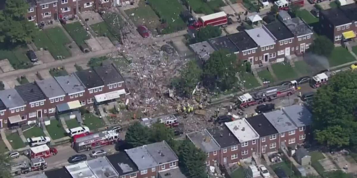 Raw: Aerials of Baltimore explosion