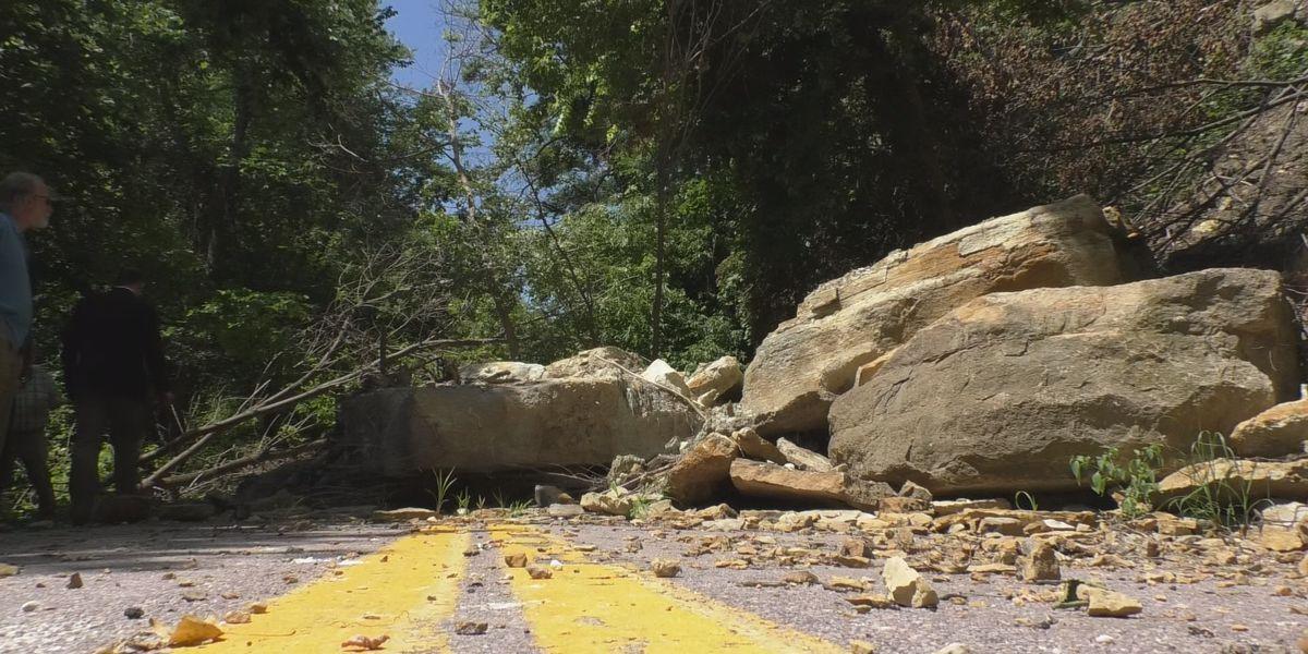 Council tours Judson Bottom Road after rockslides