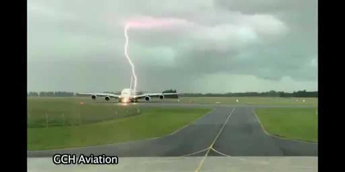 Lightning nearly strikes passenger plane.