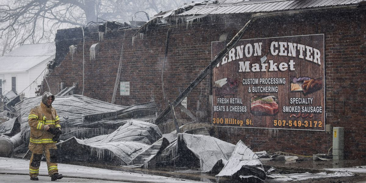 Early morning fire destroys Vernon Center meat market, staple to the community