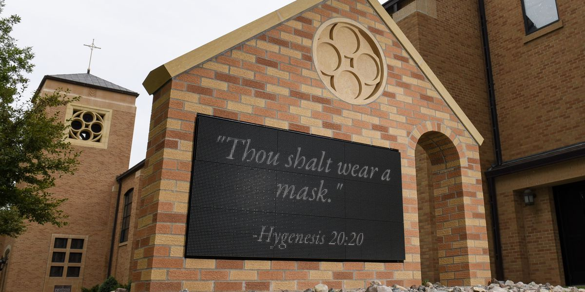 Church sign draws laughs with made-up bible verses about masks