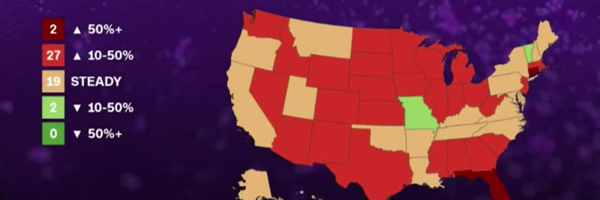 COVID: Only 2 states showing at least 10% drop in new cases